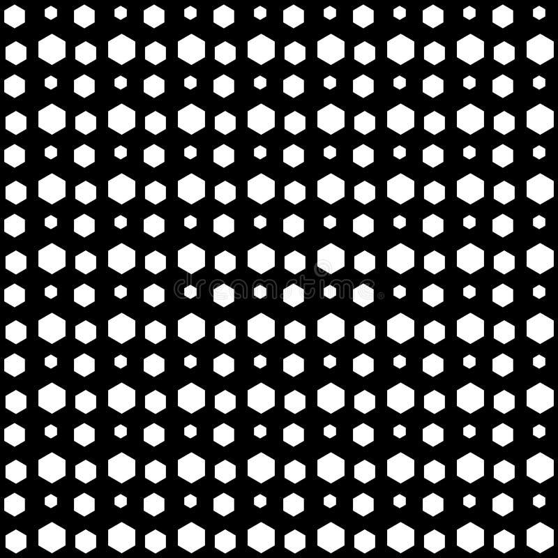Modello senza cuciture dell'estratto di esagono di vettore in bianco e nero Carta da parati astratta della priorità bassa Illustr illustrazione vettoriale
