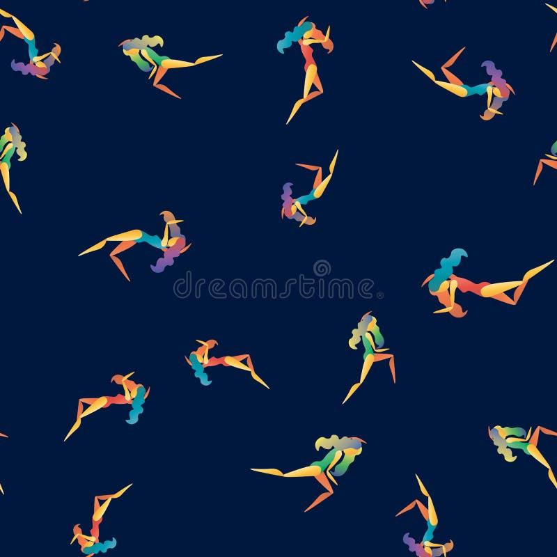 Modello senza cuciture dell'estratto di vettore con le ragazze ballanti illustrazione di stock