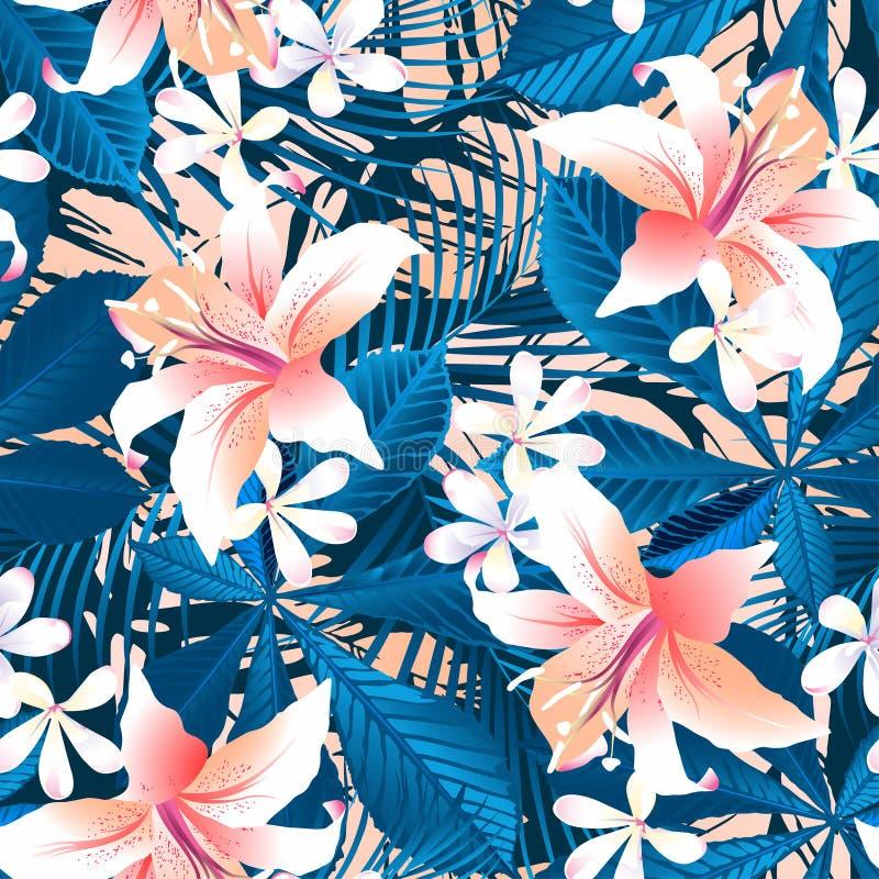 Modello senza cuciture dell'ibisco 6 floreali tropicali royalty illustrazione gratis