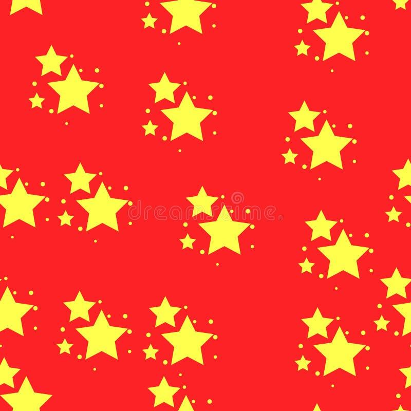 Modello senza cuciture dell'icona della stella, isolato su fondo rosso Illustrazione di vettore royalty illustrazione gratis