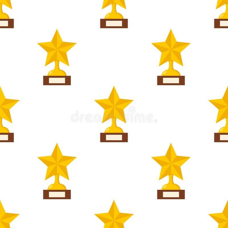 Modello senza cuciture dell'icona piana della stella del trofeo illustrazione vettoriale