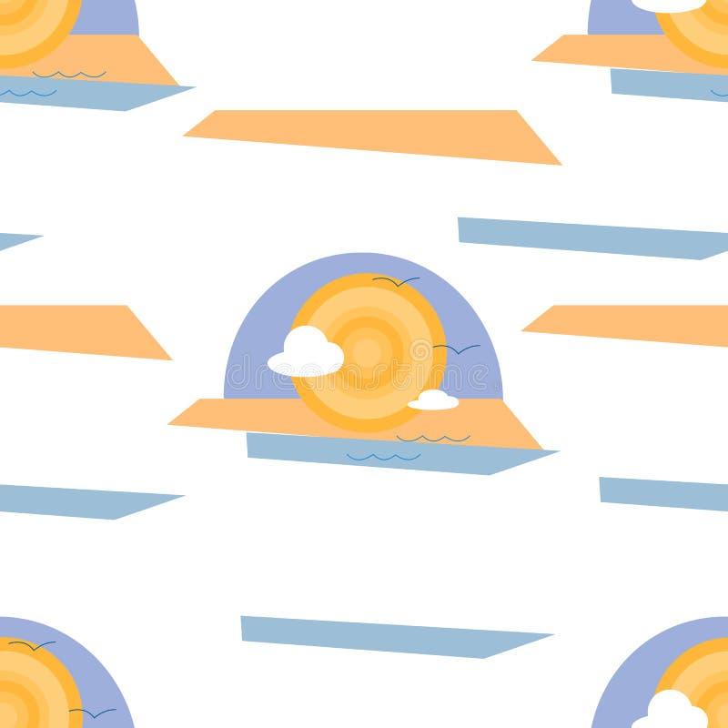 Modello senza cuciture dell'illustrazione astratta del mare, di Sun, della sabbia e delle nuvole su fondo bianco illustrazione vettoriale