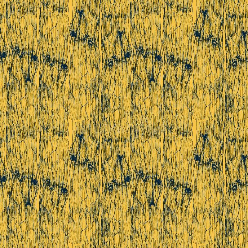 Modello senza cuciture dell'inchiostro d'annata, struttura blu della grana del legno isolato su fondo giallo illustrazione vettoriale