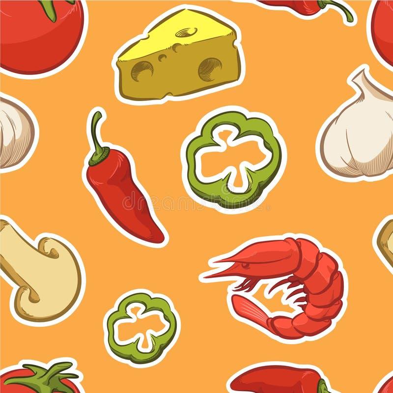 Modello senza cuciture dell'ingrediente della pizza dell'alimento illustrazione vettoriale