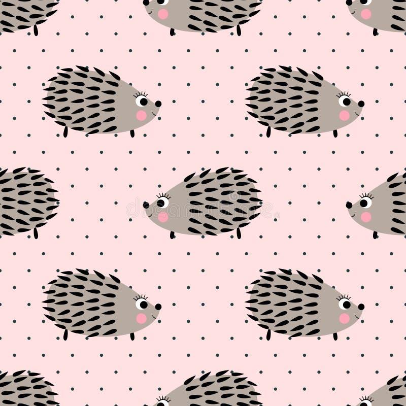 Modello senza cuciture dell'istrice sul fondo rosa dei pois Fondo sveglio dell'animale del fumetto royalty illustrazione gratis