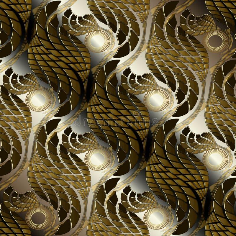 Modello senza cuciture dell'oro di marrone 3d di vettore decorato dell'estratto strutturato illustrazione di stock