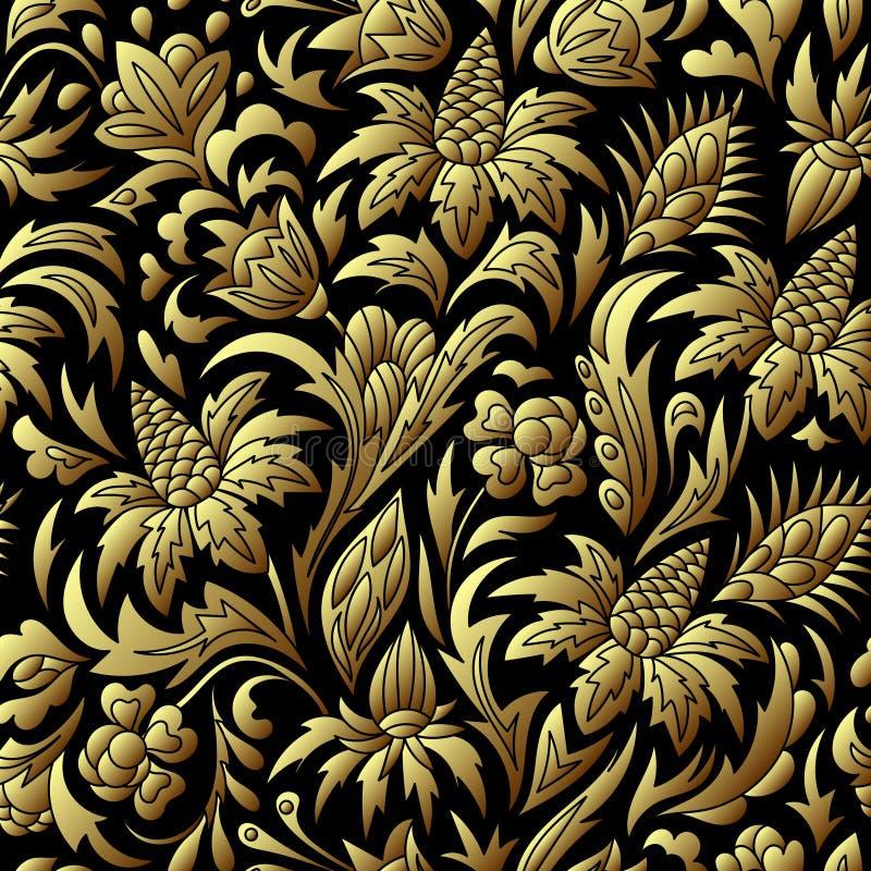 Modello senza cuciture dell'oro di vettore, struttura floreale royalty illustrazione gratis