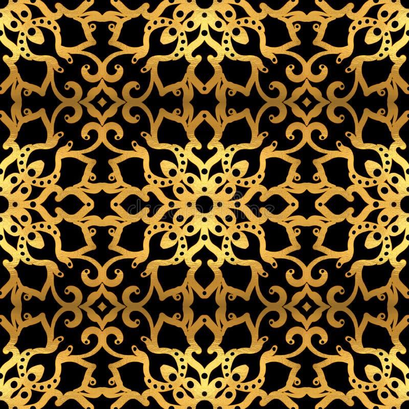 Modello senza cuciture dell'oro su fondo nero illustrazione vettoriale