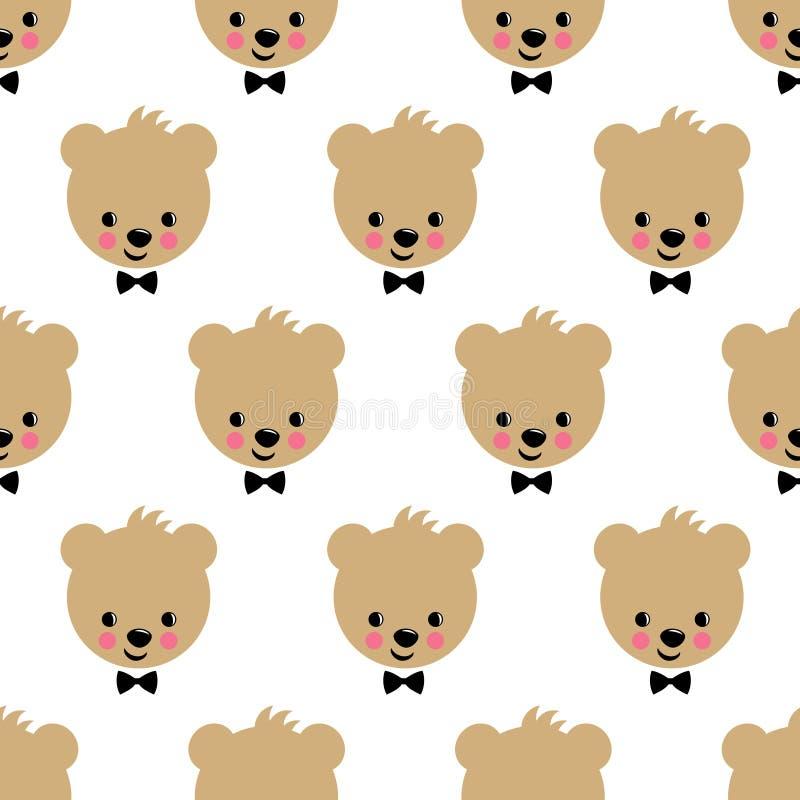 Modello senza cuciture dell'orsacchiotto felice Fondo sveglio di vettore con l'orsacchiotto del ragazzo illustrazione di stock