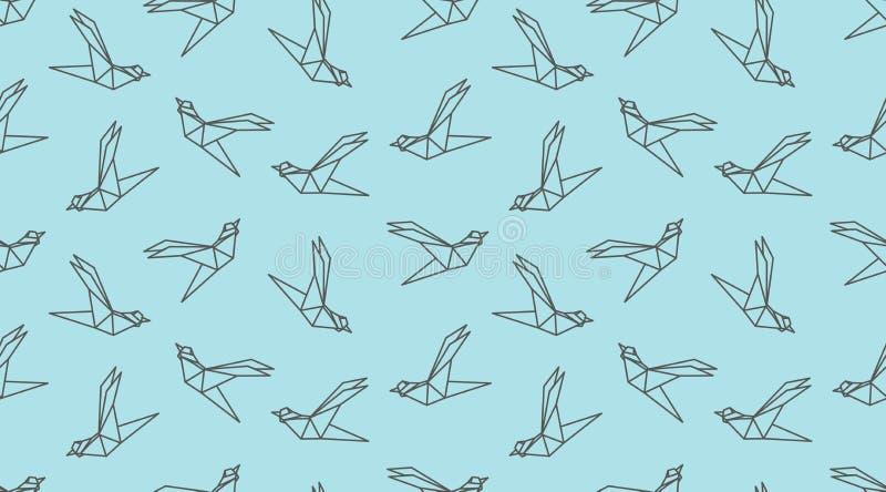 Modello senza cuciture dell'uccello del profilo di origami illustrazione vettoriale