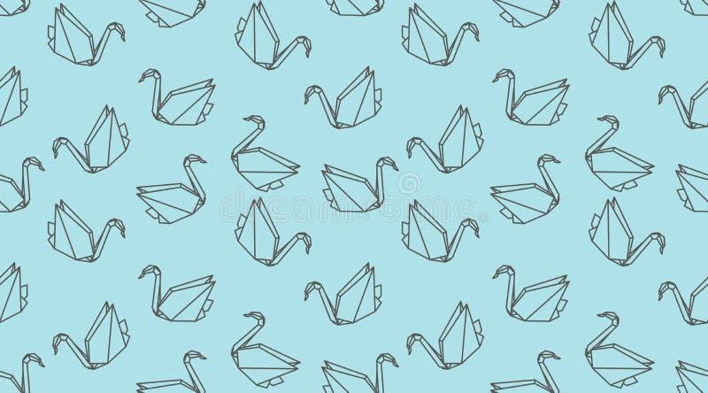Modello senza cuciture dell'uccello della gru del profilo di origami Ornamento giapponese lineare di vettore illustrazione vettoriale