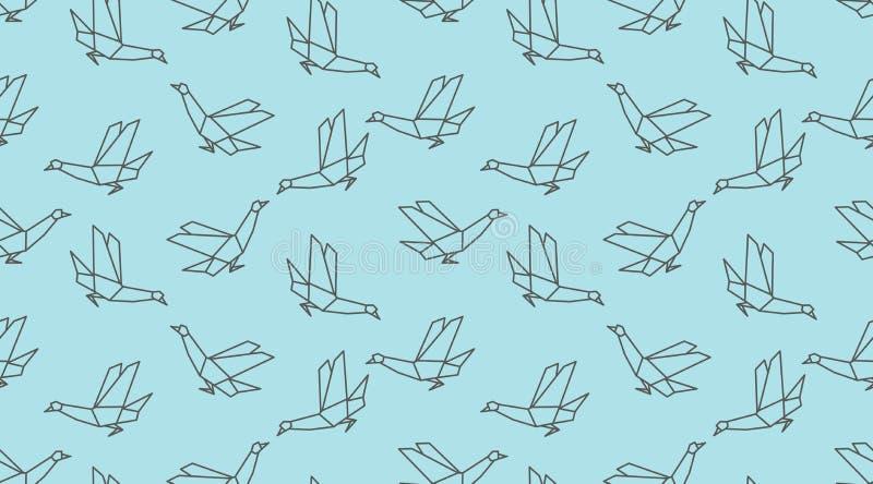 Modello senza cuciture dell'uccello lineare della colomba di origami su fondo blu royalty illustrazione gratis