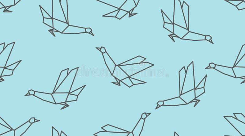 Modello senza cuciture dell'uccello lineare della colomba di origami su fondo blu illustrazione di stock