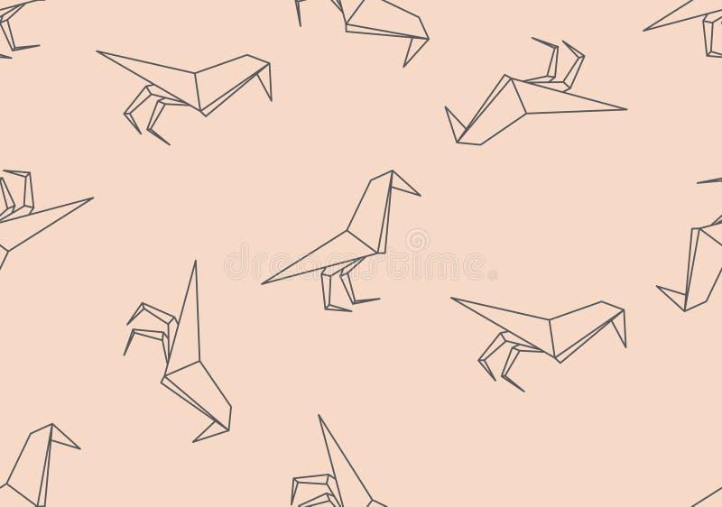 Modello senza cuciture dell'uccello nero di origami illustrazione di stock