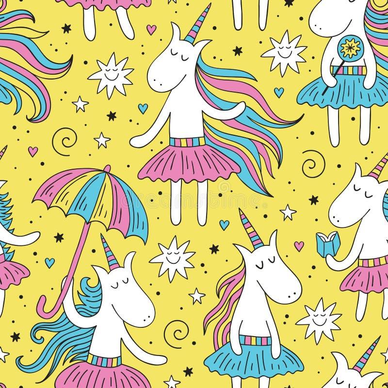 Modello senza cuciture dell'unicorno di scarabocchio con fondo giallo illustrazione di stock