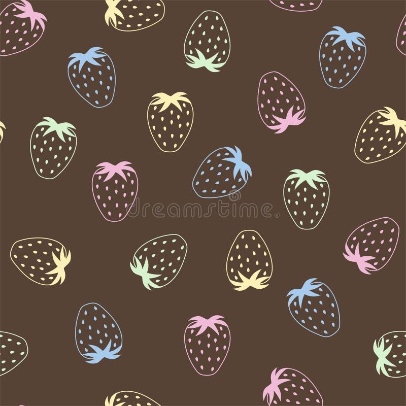 Modello senza cuciture della bacca con delle le fragole colorate multi su un fondo del cioccolato Vettore illustrazione vettoriale