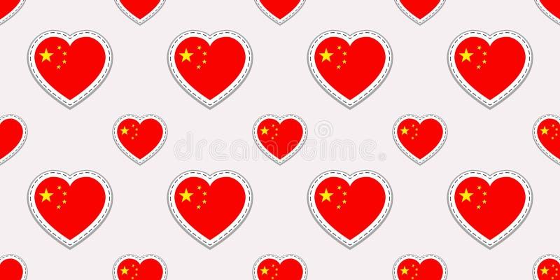 Modello senza cuciture della bandiera della Cina Il cinese di vettore inbandiera gli autoadesivi Simboli dei cuori di amore Strut illustrazione di stock