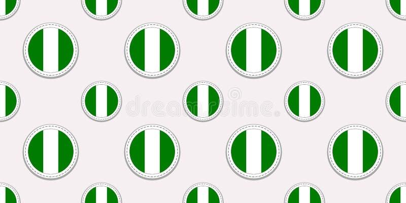 Modello senza cuciture della bandiera del giro della Nigeria Fondo nigeriano Icone del cerchio di vettore Simboli geometrici Stru illustrazione di stock