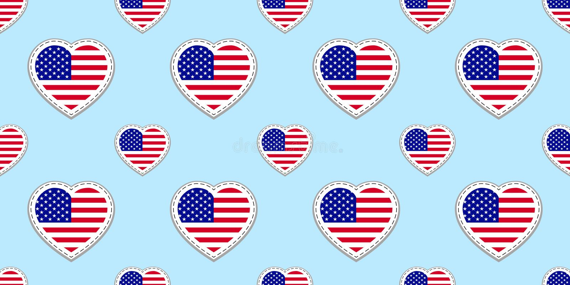 Modello senza cuciture della bandiera di U.S.A. Vector gli stikers delle bandiere degli Stati Uniti d'America Simboli dei cuori d illustrazione di stock