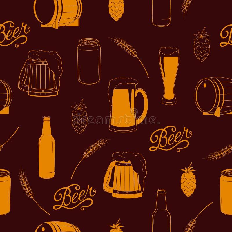 Modello senza cuciture della birra di vettore royalty illustrazione gratis