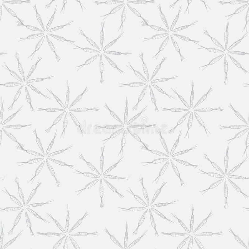 Modello senza cuciture della carota a forma di del fiore Grafici di vettore Priorit? bassa bianca illustrazione di stock