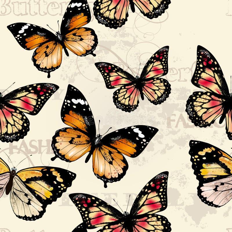 Modello senza cuciture della carta da parati di vettore con le farfalle illustrazione di stock