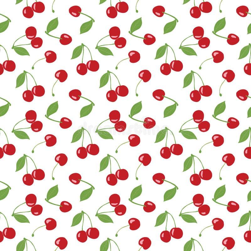 Modello senza cuciture della ciliegia, ciliege rosse e fondo bianco per i progetti di progettazione scrapbooking, del giftwrap, d illustrazione vettoriale