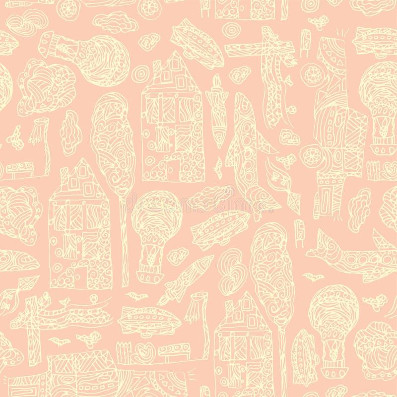 Modello senza cuciture della città disegnata a mano di scarabocchio Carta da parati astratta pastello Illustrazione di vettore pe illustrazione vettoriale