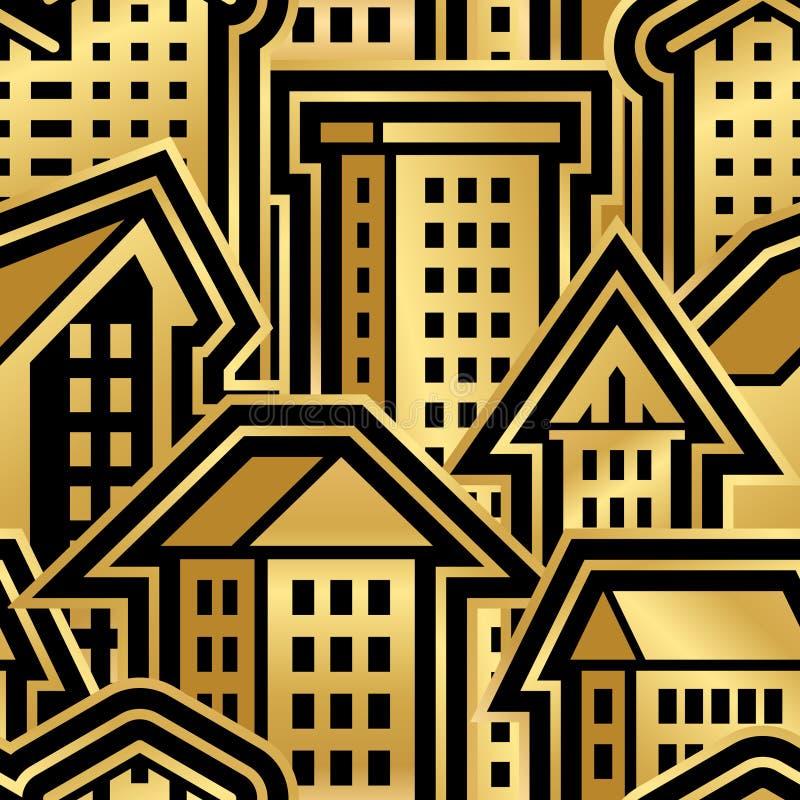 Modello senza cuciture della città nello stile dorato fotografia stock