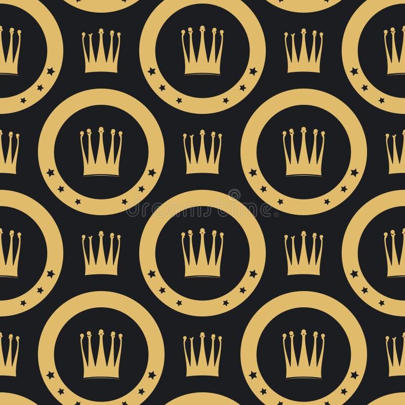Modello senza cuciture della corona dorata illustrazione di stock