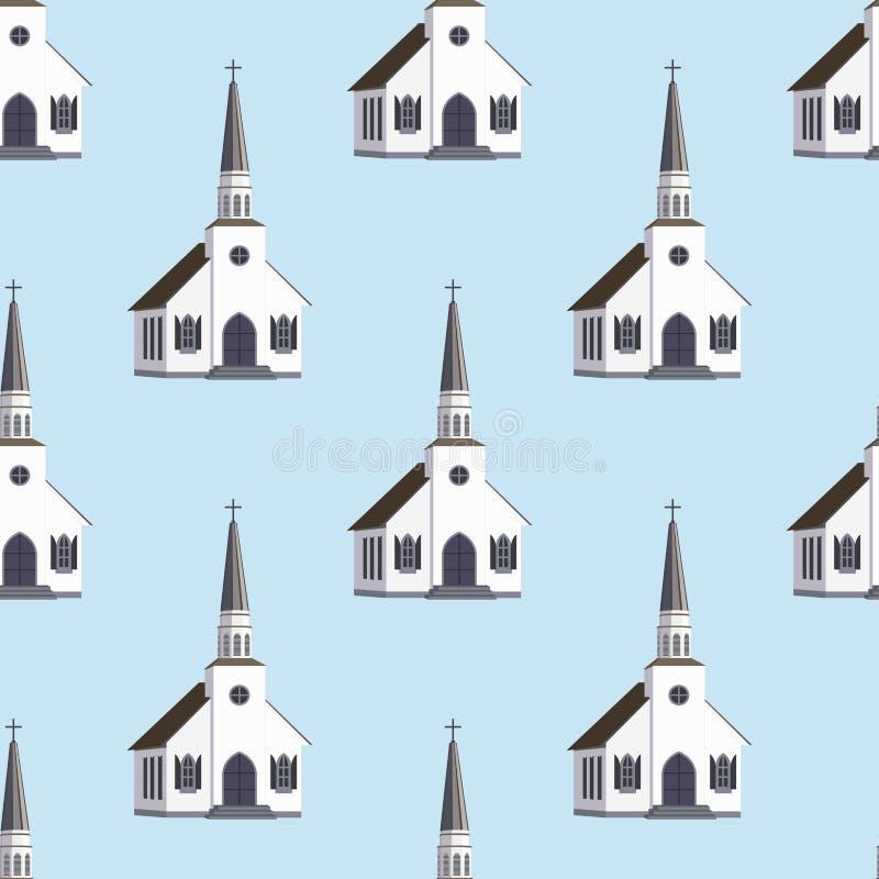 Modello senza cuciture della costruzione tradizionale del tempio della chiesa della cattedrale Architettura della cappella urbana illustrazione di stock