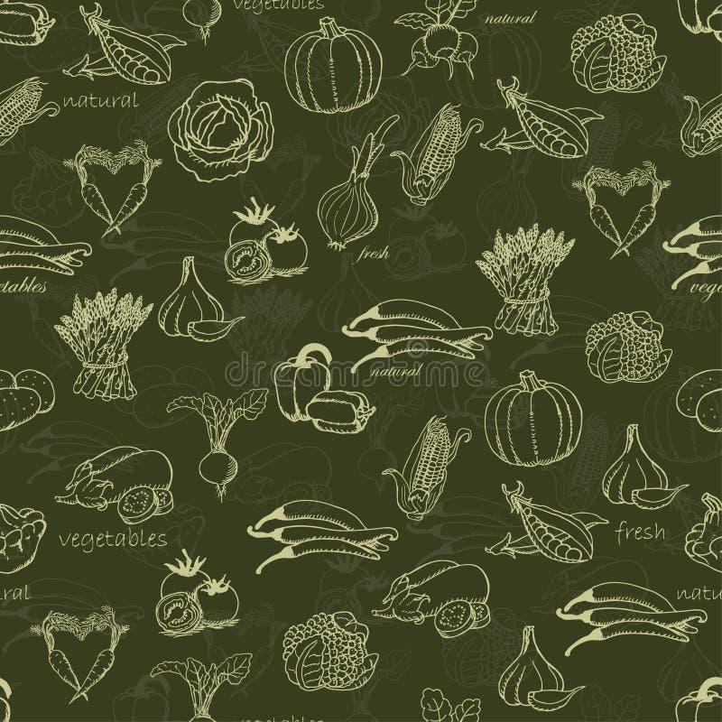 Modello senza cuciture della cucina con varie verdure royalty illustrazione gratis