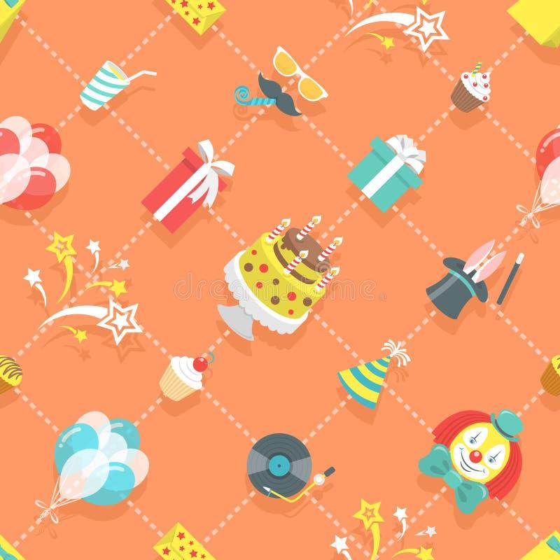 Modello senza cuciture della festa di compleanno delle icone piane di celebrazione illustrazione di stock