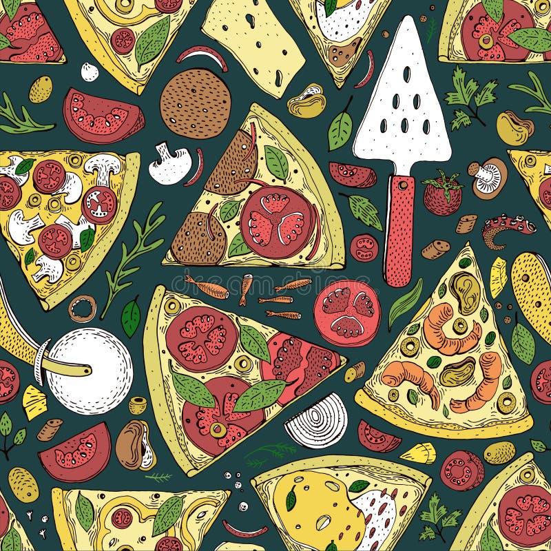 Modello senza cuciture della fetta della pizza di vettore Illustrazione disegnata a mano della pizza Grande per il menu o il fond royalty illustrazione gratis