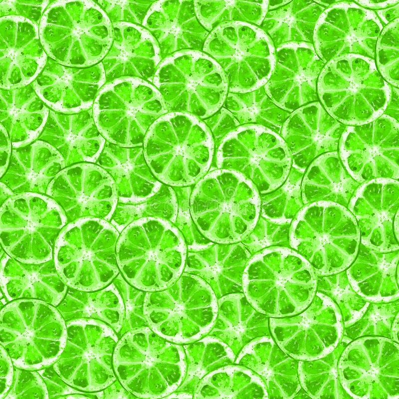 Modello senza cuciture della fetta verde della calce illustrazione vettoriale