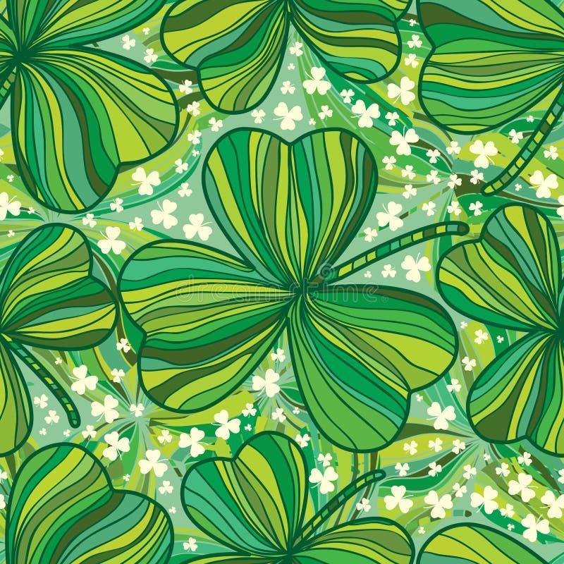 Modello senza cuciture della foglia del giorno di St Patrick del disegno a tratteggio illustrazione di stock