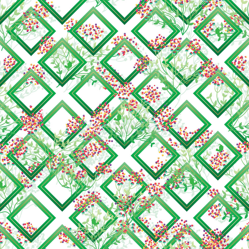 Modello senza cuciture della foglia di forma verde variopinta selvaggia del diamante royalty illustrazione gratis