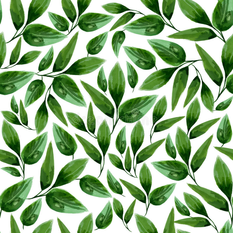 Modello senza cuciture della foglia floreale dell'acquerello royalty illustrazione gratis