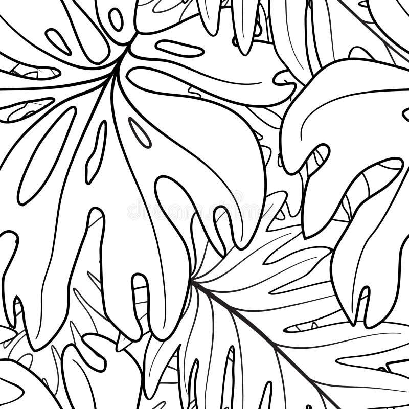 Modello senza cuciture della foglia floreale Lascia la priorit? bassa Giardino tropicale illustrazione di stock