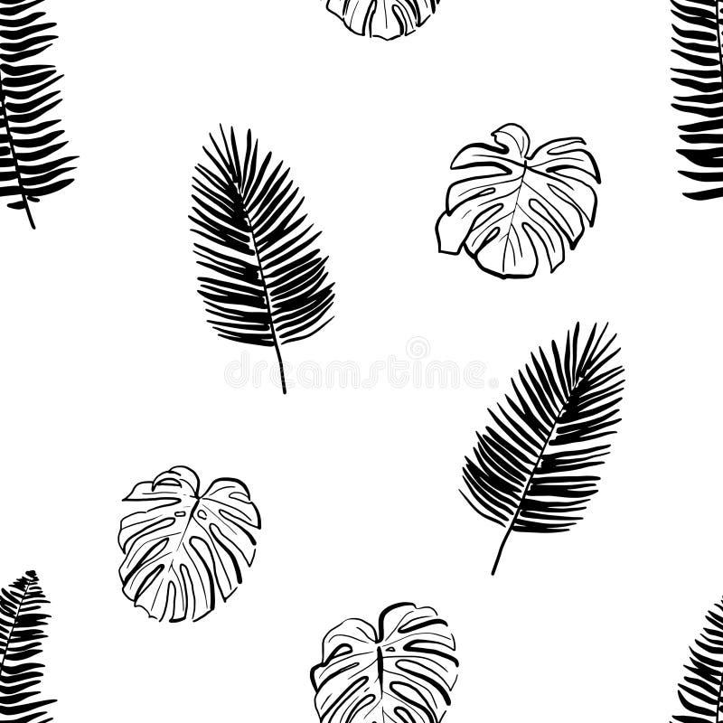 Modello senza cuciture della foglia tropicale disegnata a mano fotografia stock