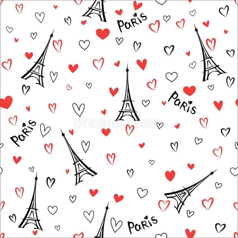 Modello senza cuciture della Francia di viaggio Carta da parati del punto di riferimento della città di Parigi royalty illustrazione gratis