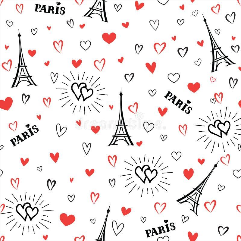 Modello senza cuciture della Francia di viaggio Carta da parati della città di Parigi di amore illustrazione di stock