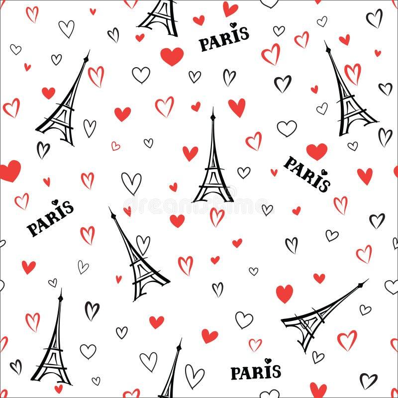 Modello senza cuciture della Francia di viaggio Carta da parati di vacanza della città di Parigi f illustrazione di stock