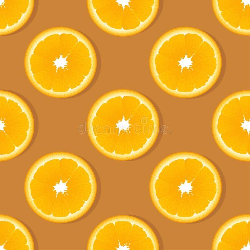 Modello senza cuciture della frutta arancio della fetta Fondo di vettore dell'agrume royalty illustrazione gratis