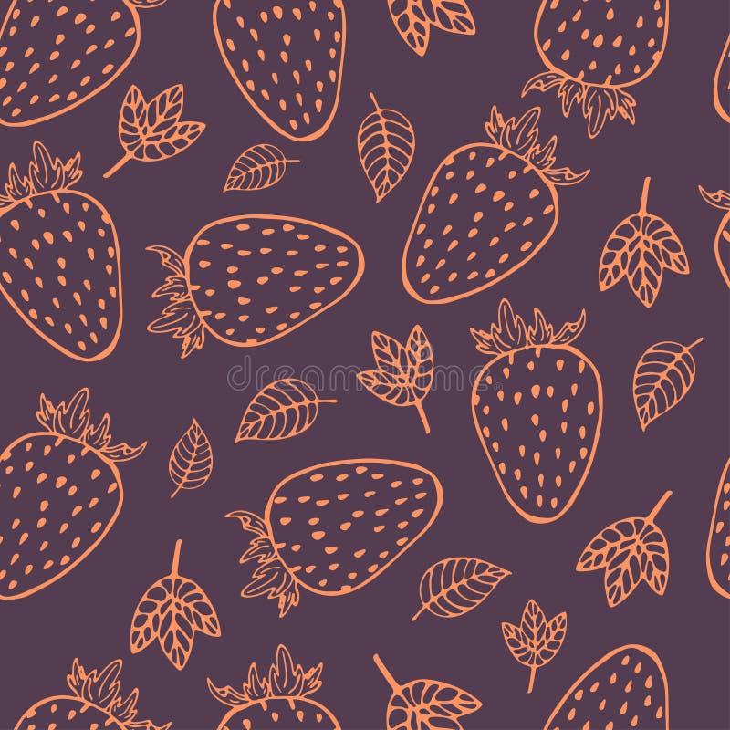 Modello senza cuciture della frutta della fragola del profilo illustrazione vettoriale