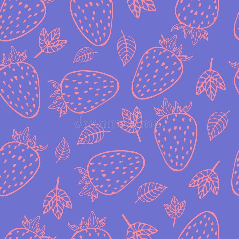Modello senza cuciture della frutta della fragola del profilo illustrazione di stock