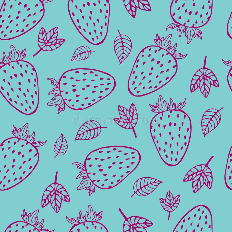 Modello senza cuciture della frutta della fragola del profilo royalty illustrazione gratis
