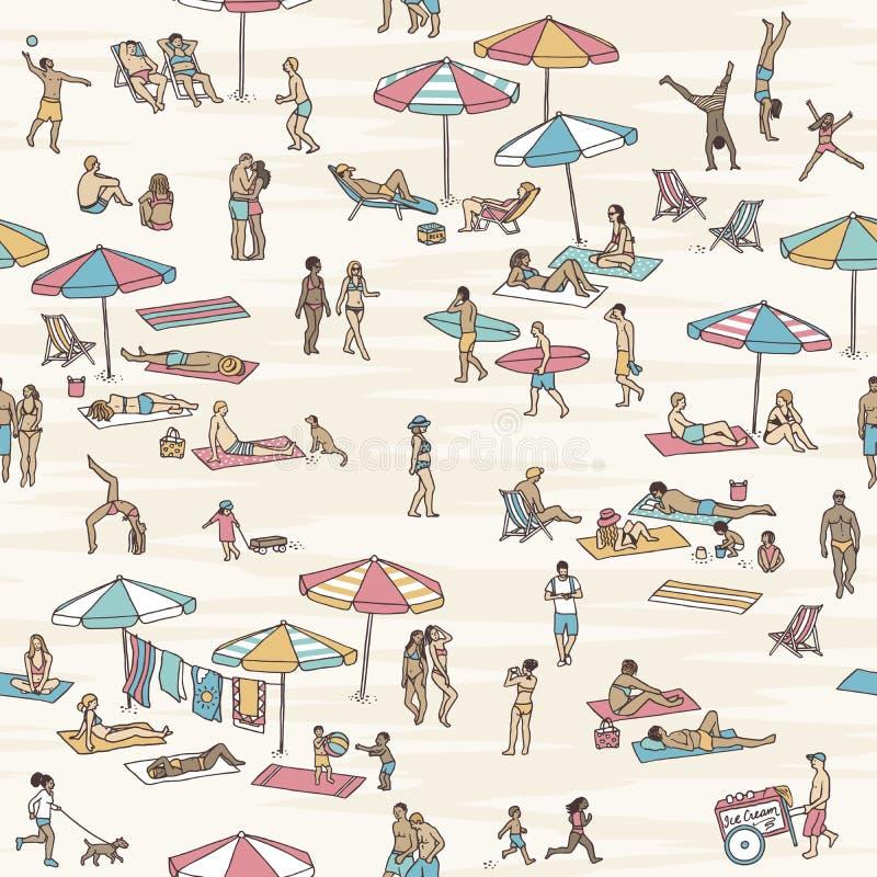 Modello senza cuciture della gente minuscola alla spiaggia illustrazione vettoriale