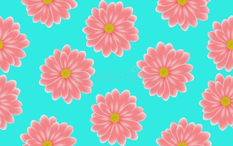Modello senza cuciture della gerbera rosa floreale su fondo blu royalty illustrazione gratis