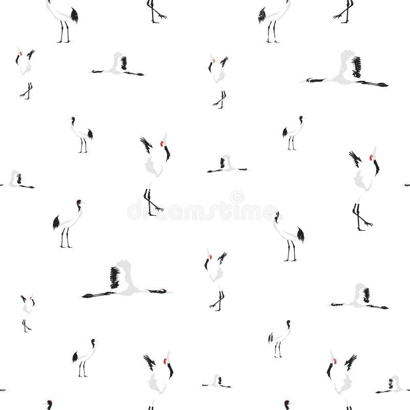 Modello senza cuciture della gru coronato rosso Siluette grafiche con struttura di lerciume Chiaro fondo moderno bianco con gli u illustrazione di stock